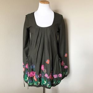 Desigual Floral Embroidered Tunic Top with Pockets